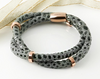 Grey Textured Leather Double Men's Bracelet with a Magnetic Rose Gold Plated Steel Clasp and Spacers