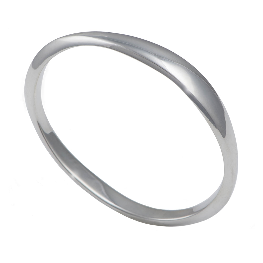 Heavy Elliptical Sterling Silver Bangle
