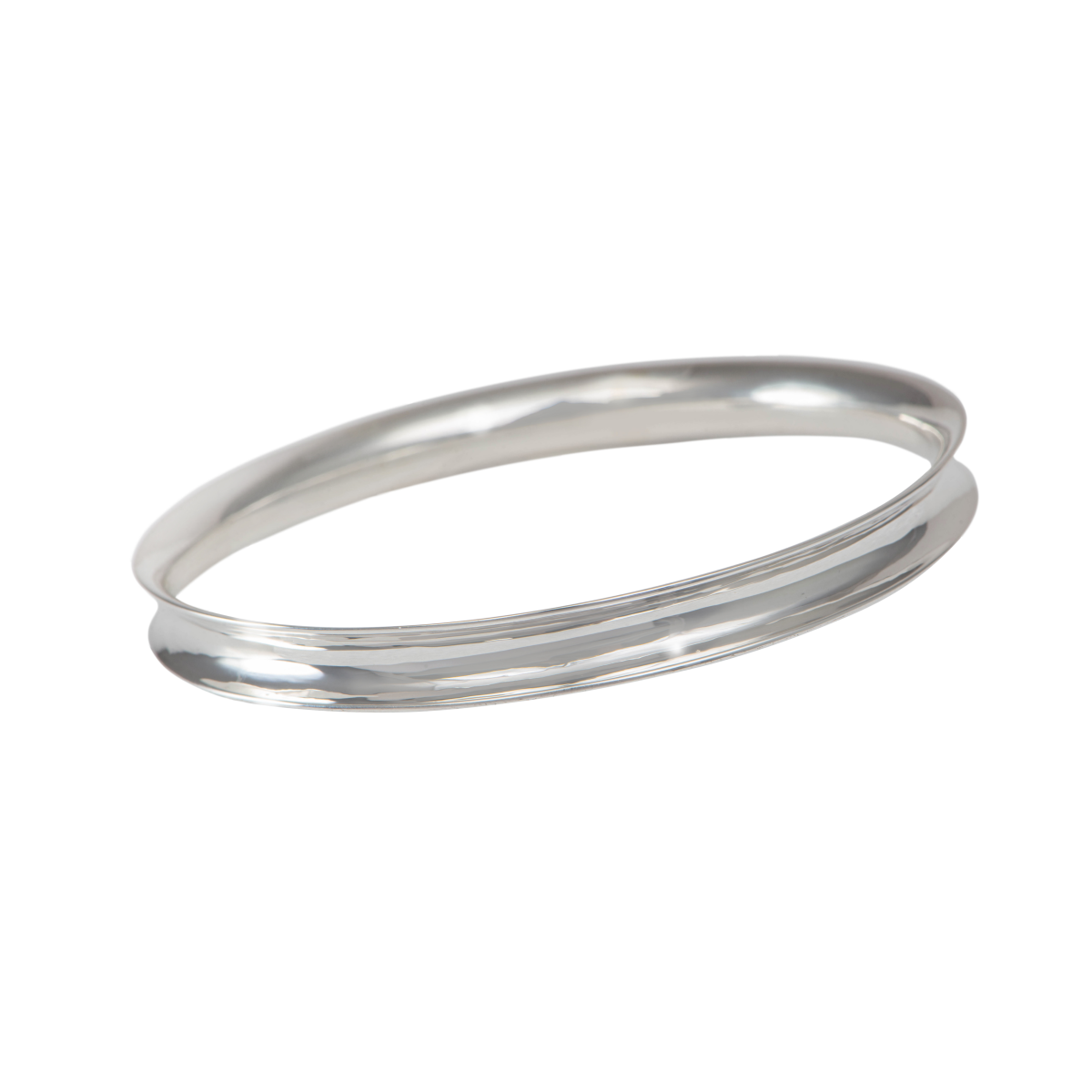 Chunky Sterling Silver 7mm wide Concave Bangle with a Polished Shiny Finish