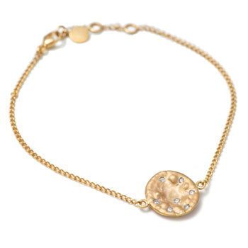 Bracelet in 9k Yellow Gold with Big Disc and Diamonds
