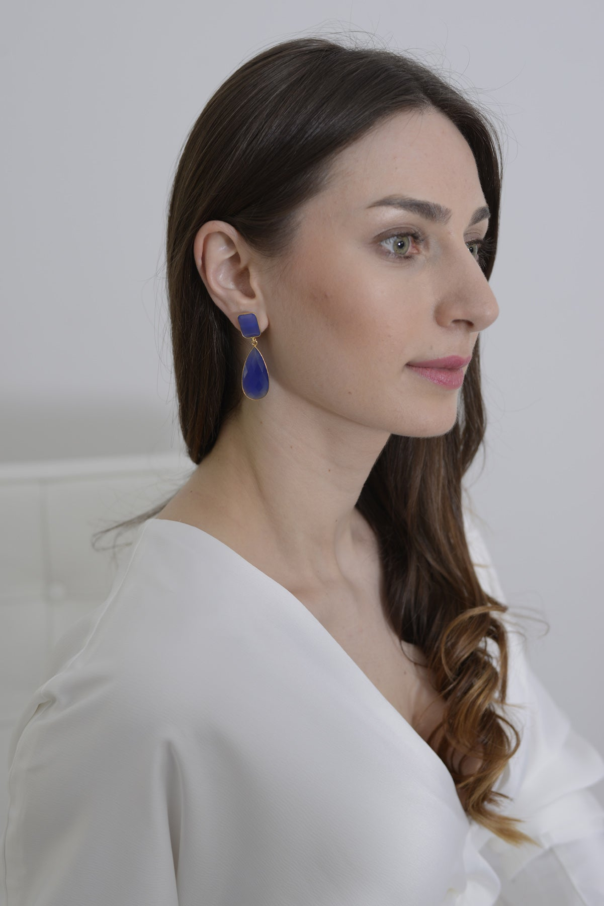 Long Earrings with Rectangle Stone and Long Pear Shaped Stone Drop - Lapis Lazuli