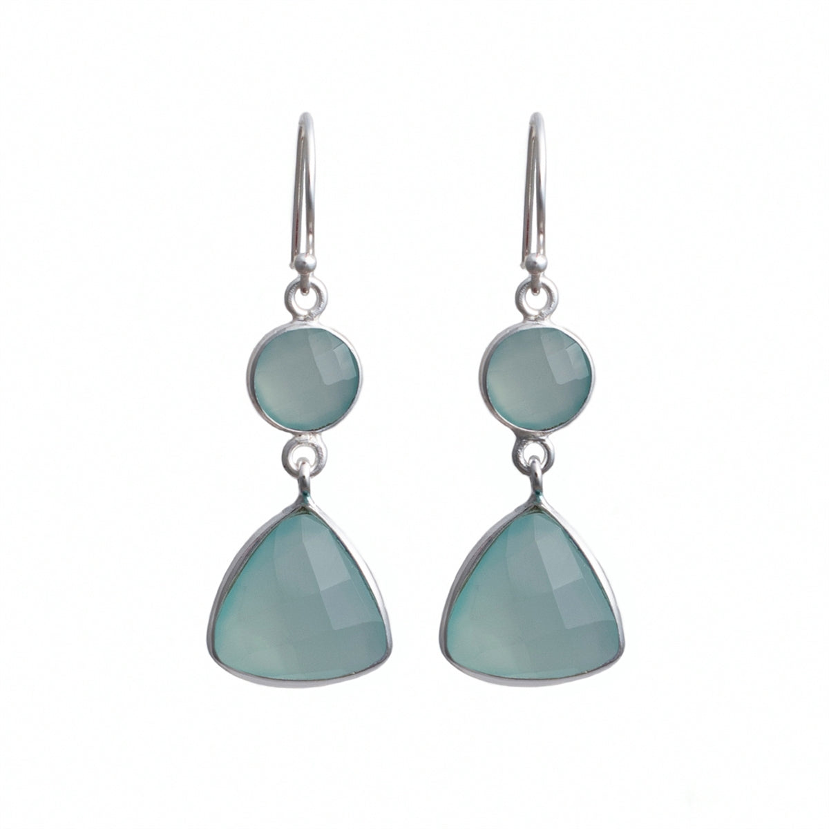 Semiprecious Stone Earrings - Triangular