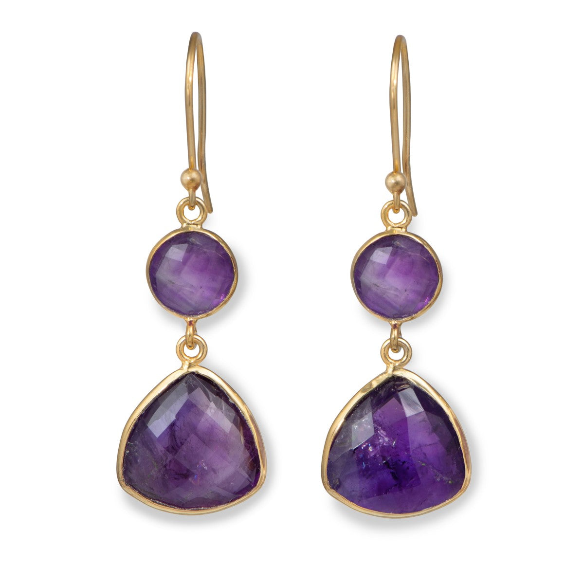 Amethyst Gemstone Earrings in Gold Plated Sterling Silver - Triangular
