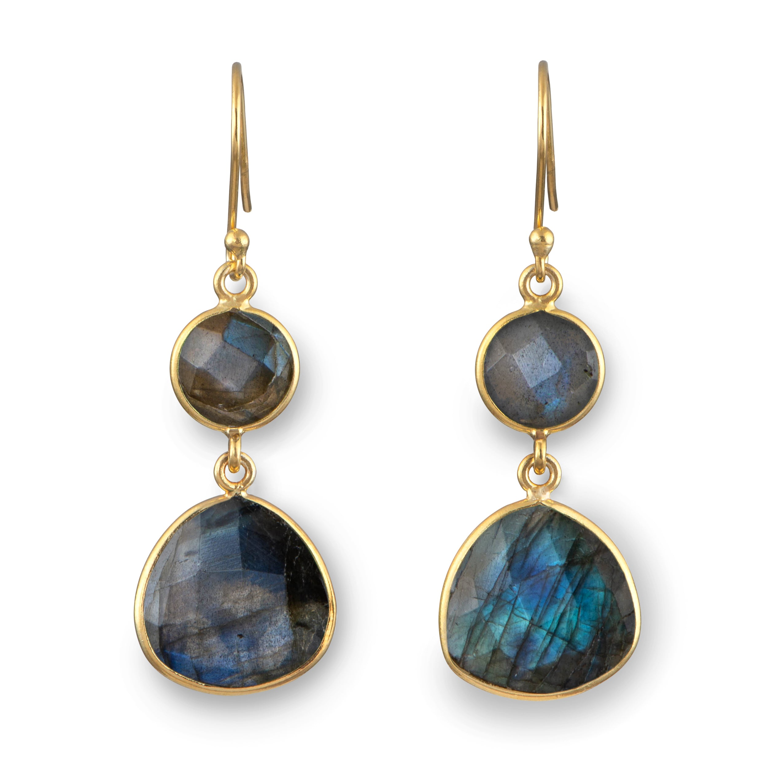 Labradorite Semiprecious Gemstone Earrings in Gold Plated Sterling Silver - Triangular