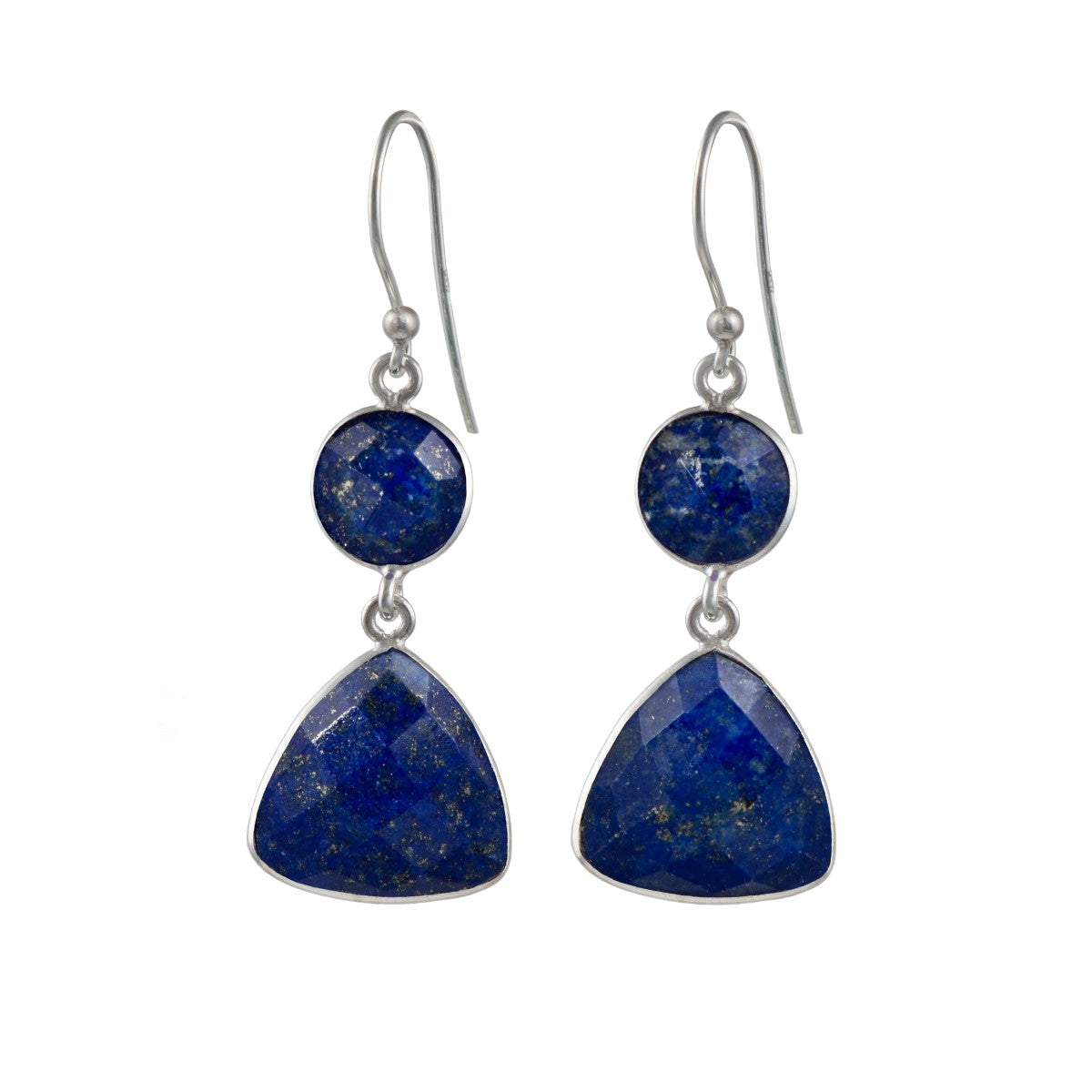 Lapis Lazuli Gemstone Earrings in Sterling Silver - Triangular