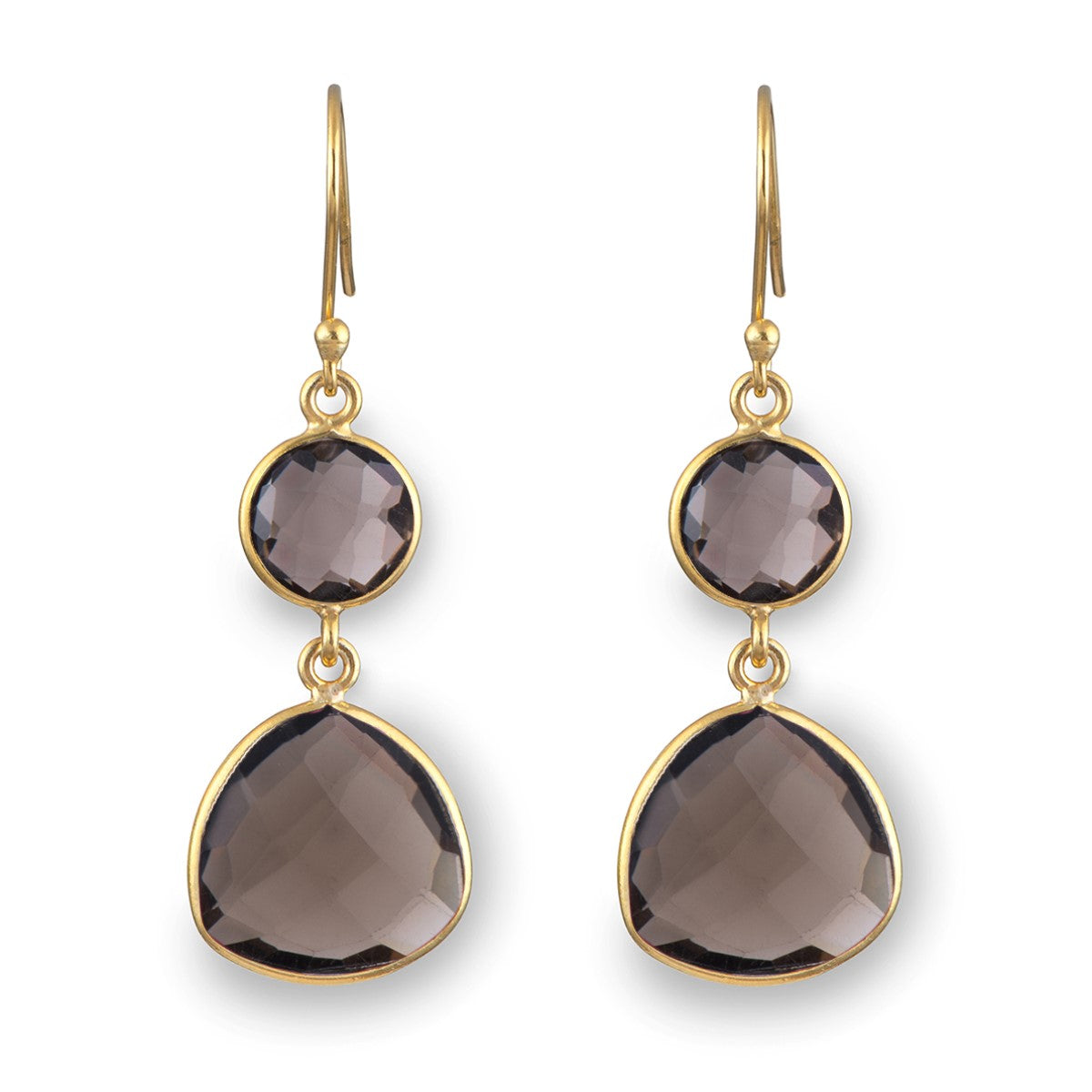 Smoky Quartz Gemstone Earrings in Gold Plated Sterling Silver - Triangular