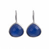 Blue Chalcedony Gemstone Sterling Silver Teardrop Earrings