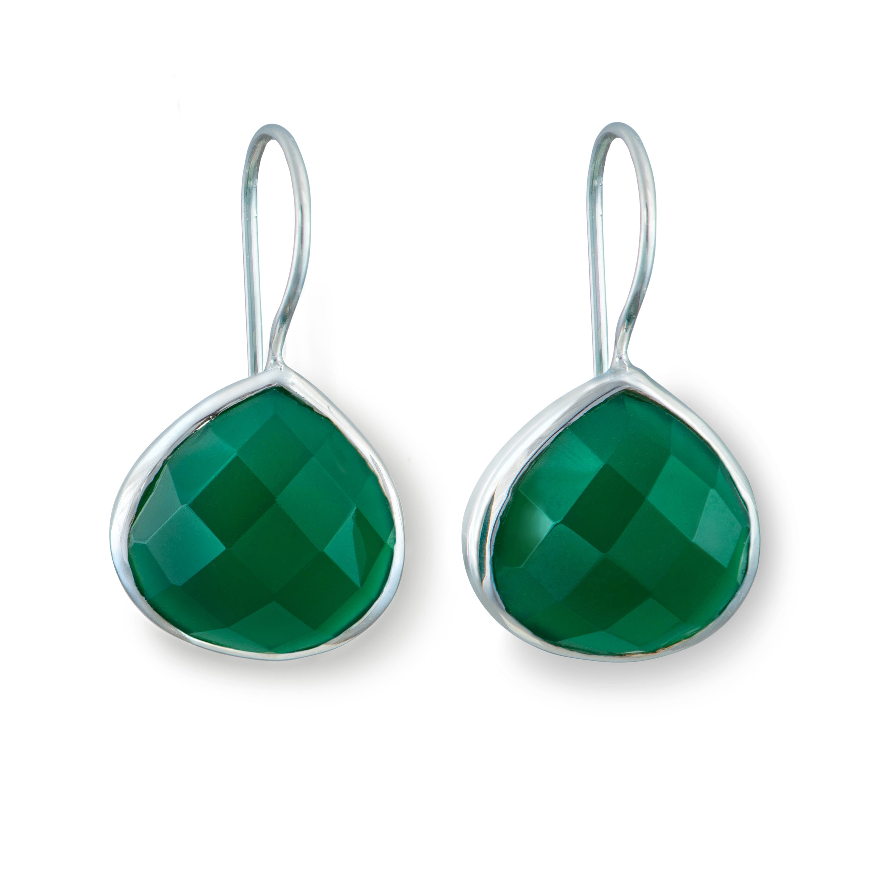 Green Onyx Gemstone Sterling Silver Teardrop Earrings
