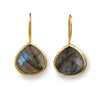 Labradorite Gemstone Gold Plated Sterling Silver Teardrop Earrings