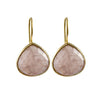 Rose Quartz Gemstone Gold Plated Sterling Silver Teardrop Earrings