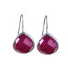 Ruby Quartz Gemstone Sterling Silver Teardrop Earrings
