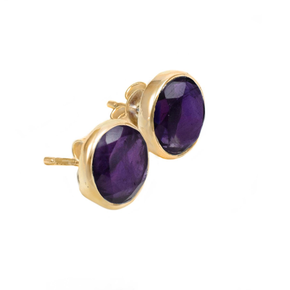 Amethyst Studs in Gold Plated Sterling Silver with a Round Faceted Gemstone