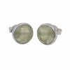 Prehnite Semiprecious Gemstone Stud Earrings - Round