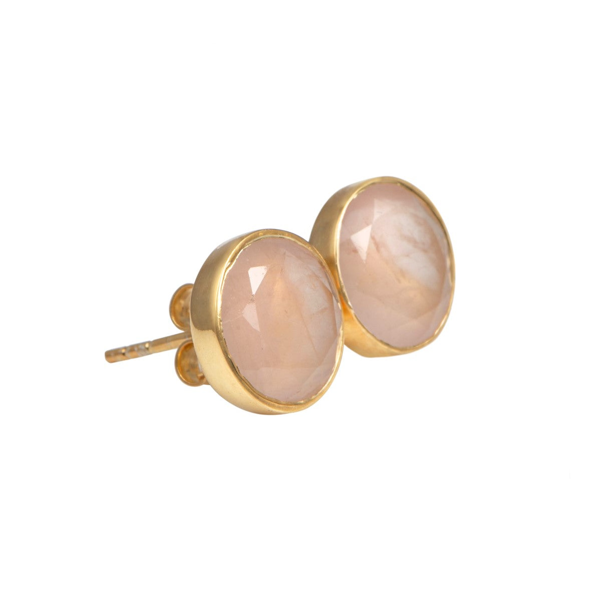 Rose Quartz Studs in Gold Plated Sterling Silver with a Round Faceted Gemstone