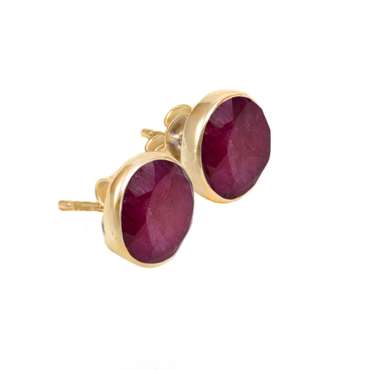 Ruby Quartz Gold Plated Sterling Silver Semiprecious Gemstone Stud Earrings - Round