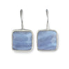 Sterling Silver Square Gemstone Earrings - Blue Agate