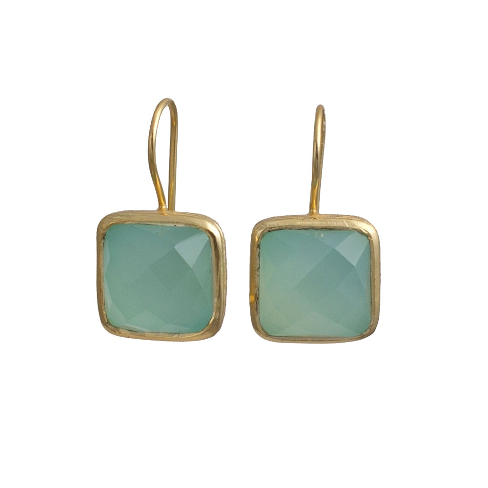 Gold Plated Silver Earrings - Square