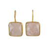 Gold Plated Sterling Silver Square Gemstone Earrings - Rose Quartz