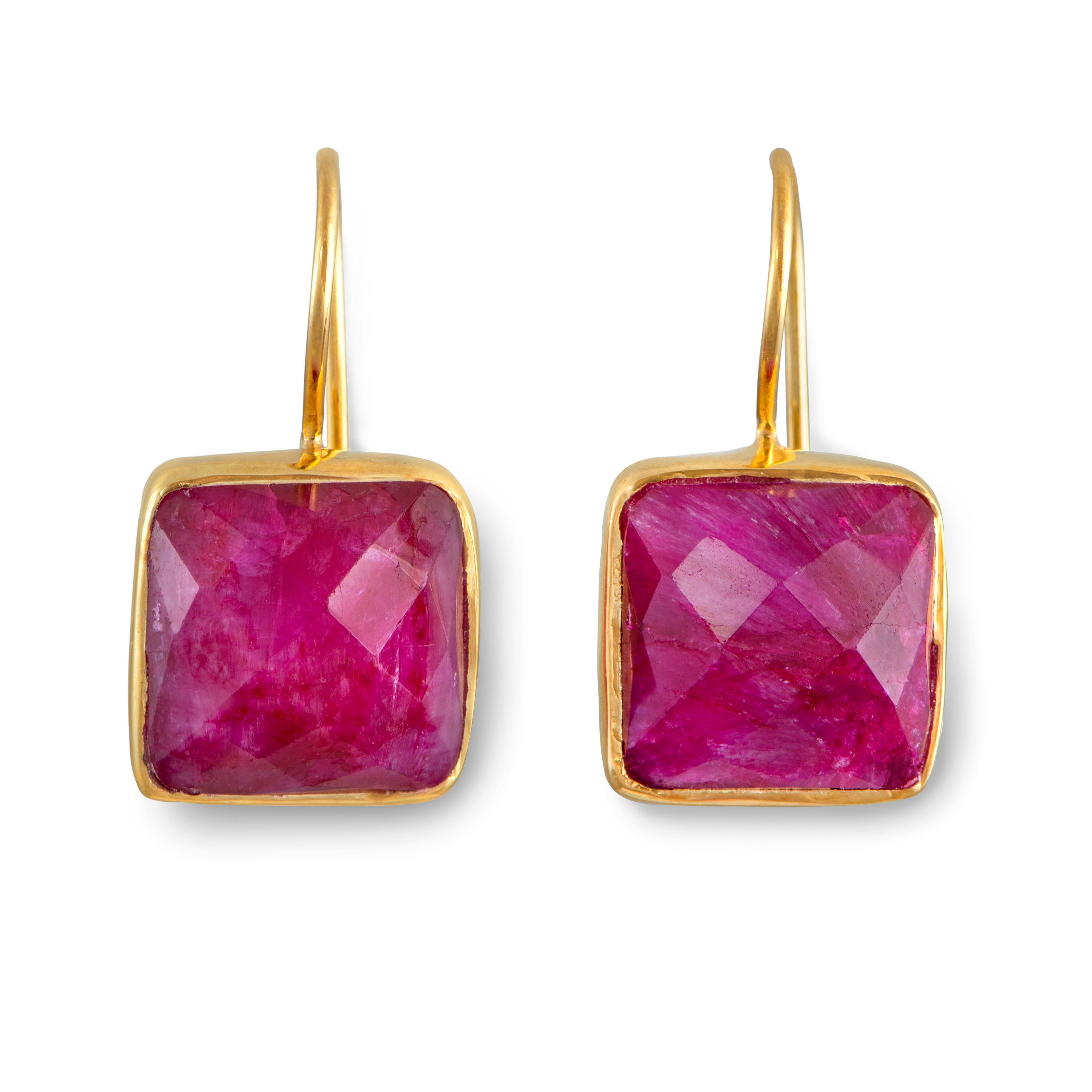 Gold Plated Sterling Silver Square Gemstone Earrings - Ruby Pink Quartz