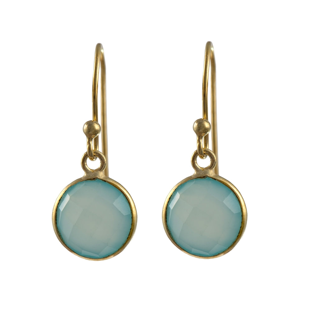 Gold Plated Semiprecious Stone Earrings - Round