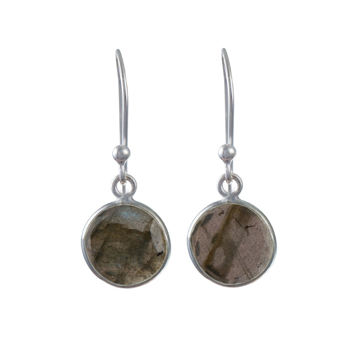 Labradorite Gemstone Earrings in Sterling Silver - Round