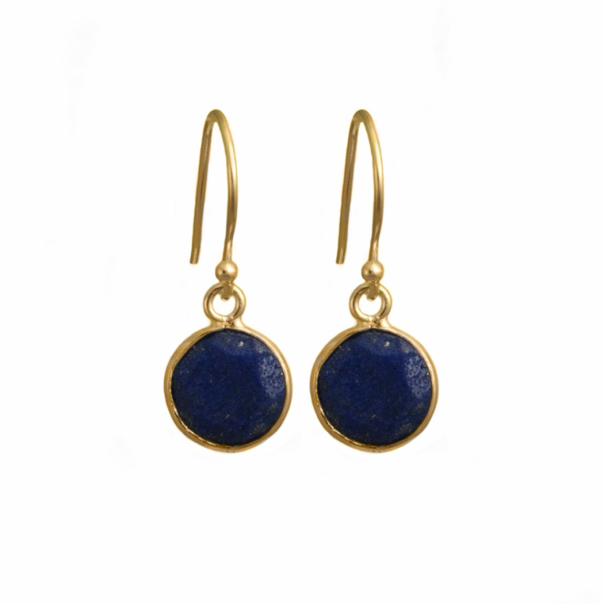 Lapis Lazuli Gemstone Earrings in Gold Plated in Sterling Silver - Round