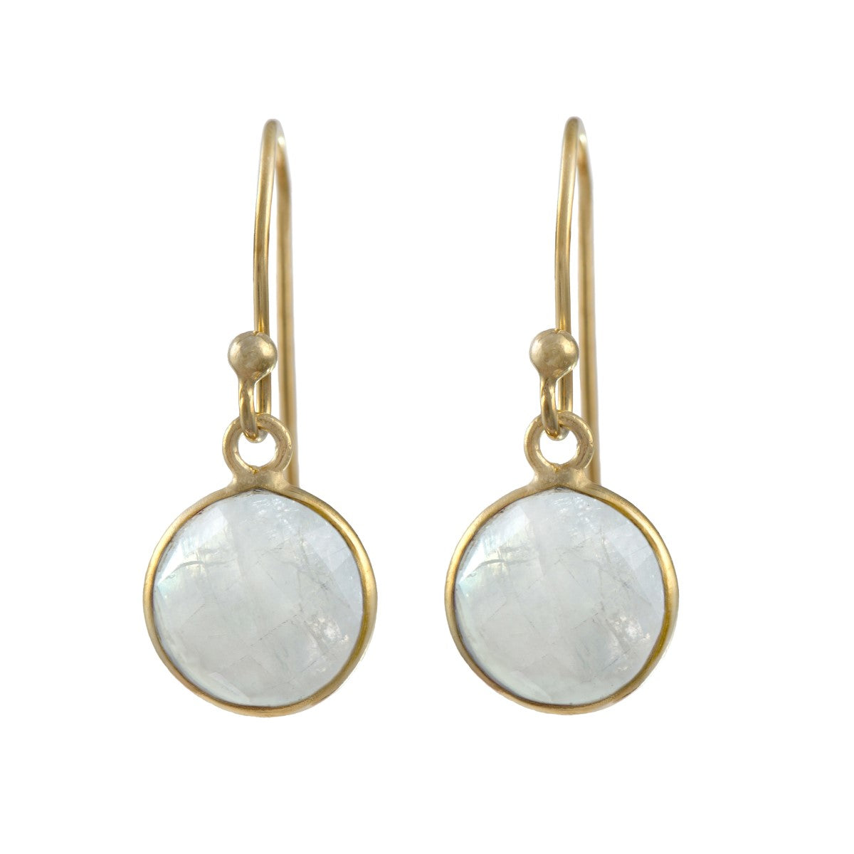 Moonstone Gemstone Earrings in Gold Plated Sterling Silver - Round