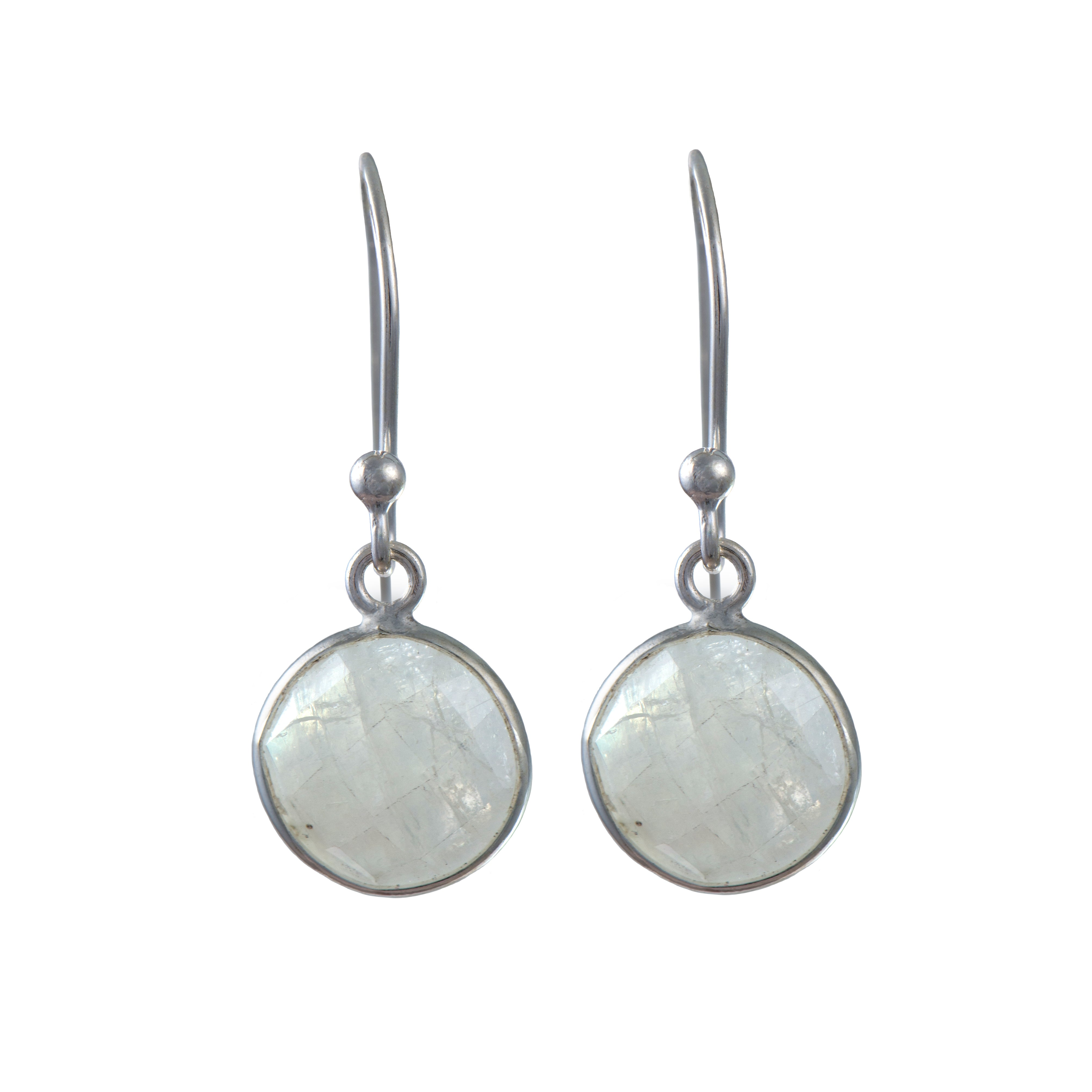 Moonstone Sterling Silver Earrings with a Round Faceted Gemstone Drop
