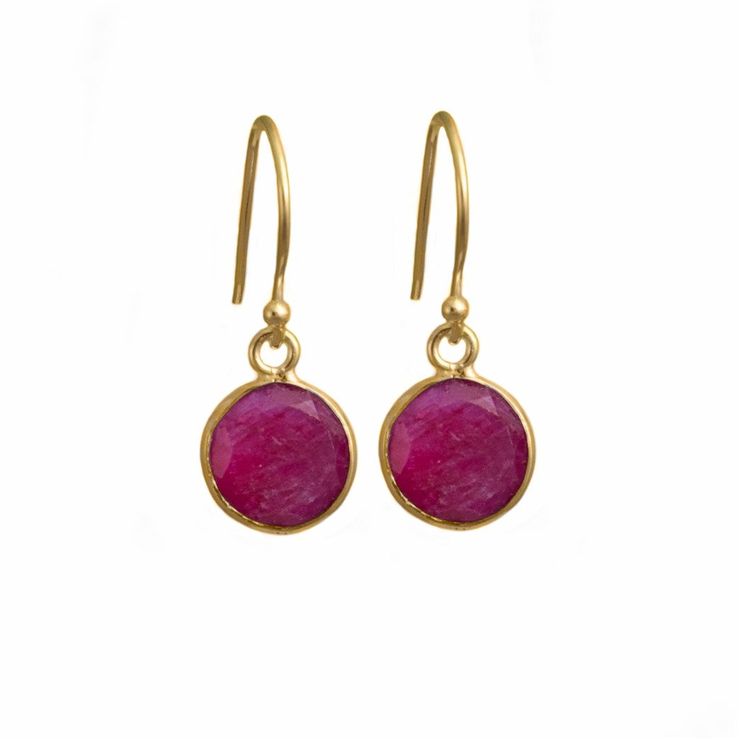Ruby Quartz Gemstone Earrings in Gold Plated in Sterling Silver - Round