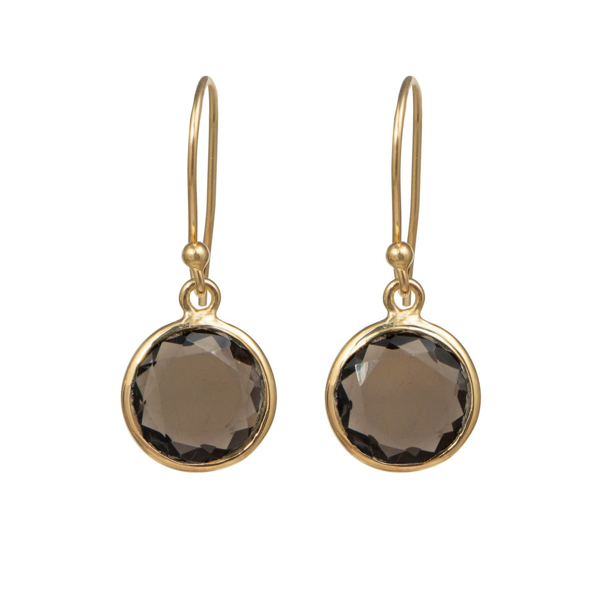 Smoky Quartz Gold Plated Sterling Silver Earrings with a Round Faceted Gemstone Drop