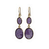 Gold Plated Semiprecious Stone Long Earrings - Amethyst