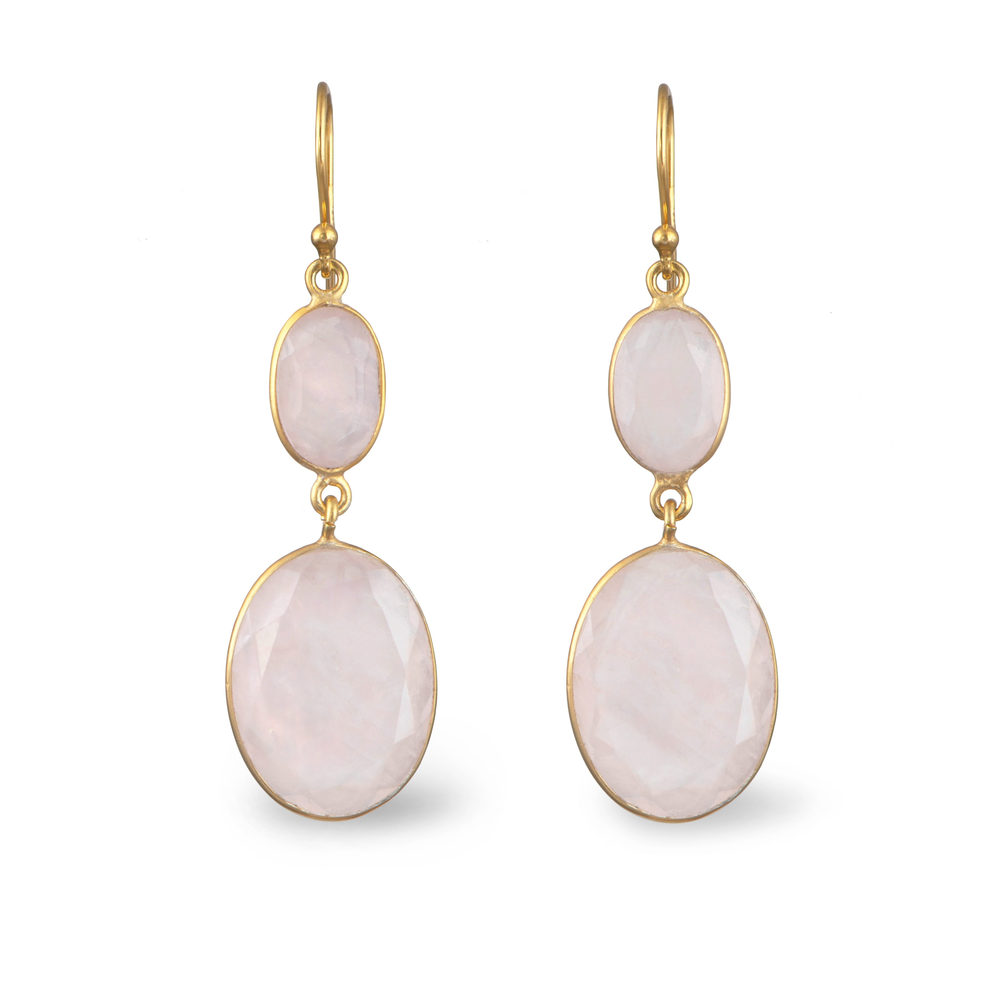Gold Plated Semiprecious Stone Long Earrings