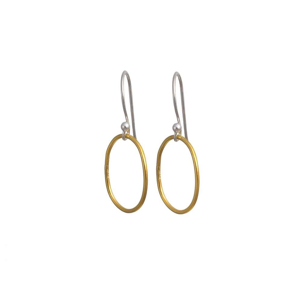 Two Toned Large Oval Gold Plated Silver Earring