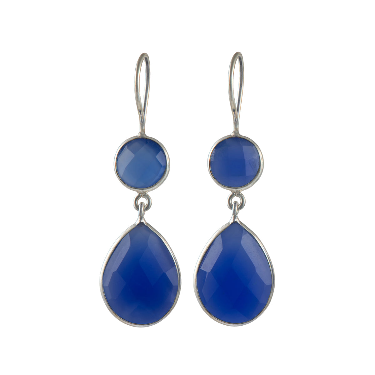Blue Chalcedony Gemstone Two Stone Earrings in Sterling Silver - Teardrop