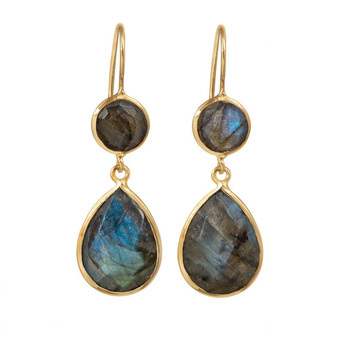 Labradorite Gemstone Two Stone Earrings in Gold Plated Sterling Silver - Teardrop