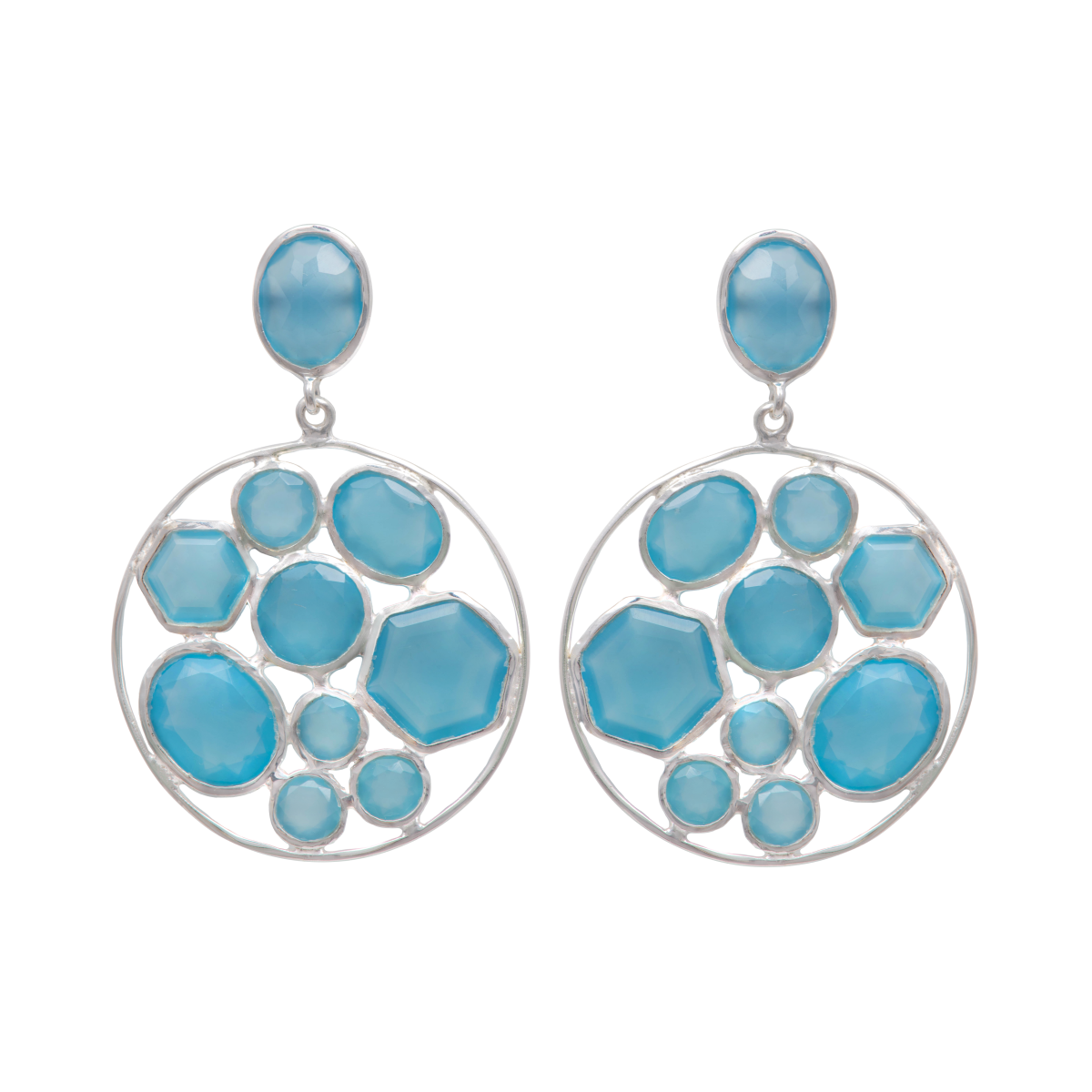 Long Gemstone Earrings with a Round Disc Drop with Stones in Sterling Silver - Aqua Chalcedony and Blue Topaz