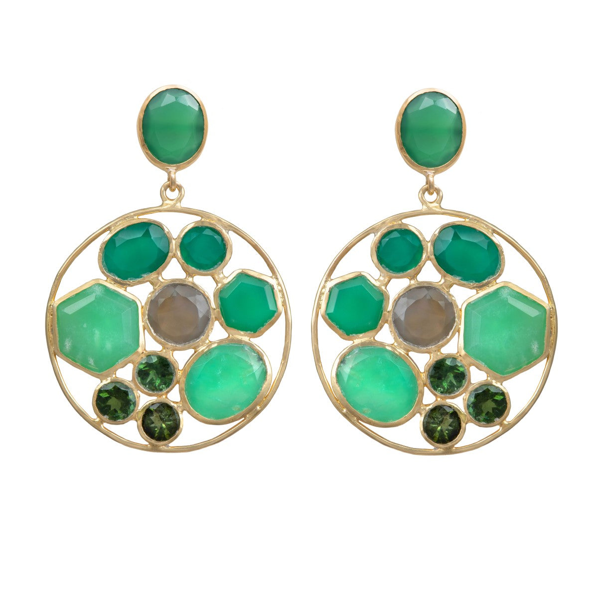 Long Gemstone Earrings with a Round Disc Drop with Stones in Gold Plated Sterling Silver - Green Chalcedony and Green Onyx