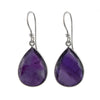 Amethyst Sterling Silver Earrings with a Tear Drop Shaped Gemstone