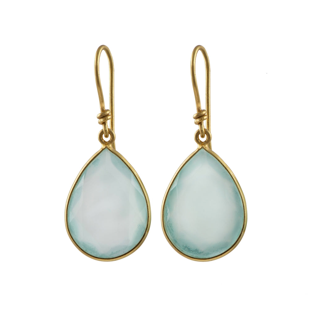 Gold Plated Semiprecious Stone Tear Drop Earrings