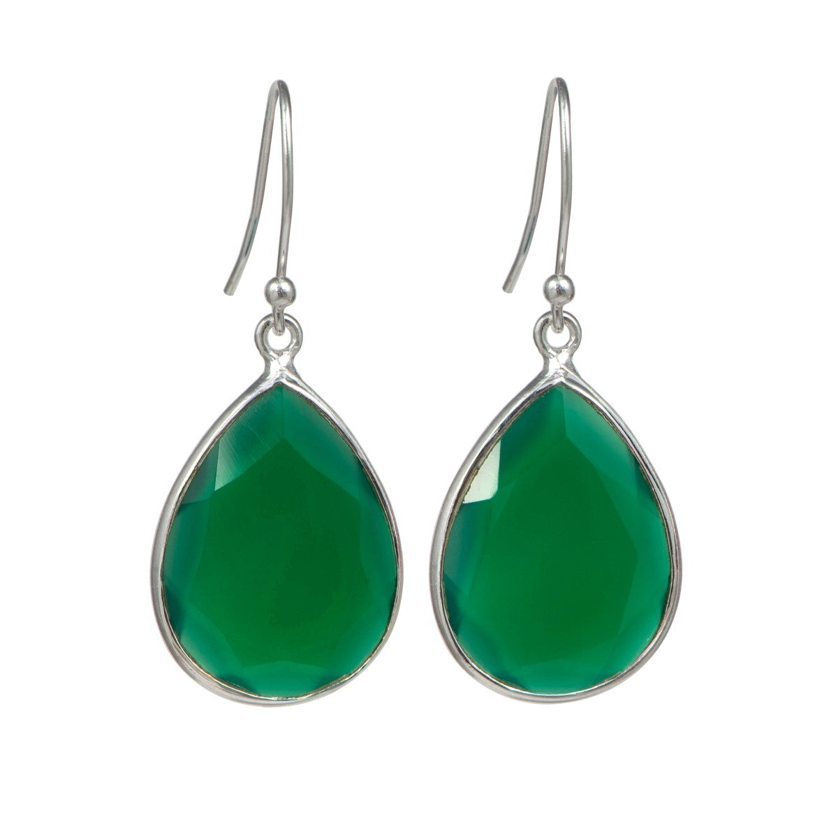 Green Onyx Sterling Silver Earrings with a Tear Drop Shaped Gemstone