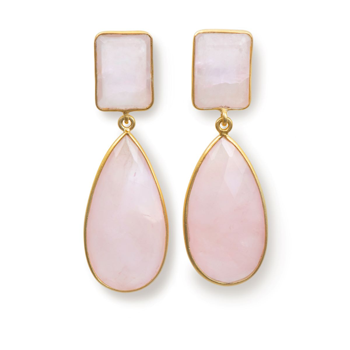 Long Earrings with Rectangle Stone and Long Pear Shaped Stone Drop - Rose Quartz