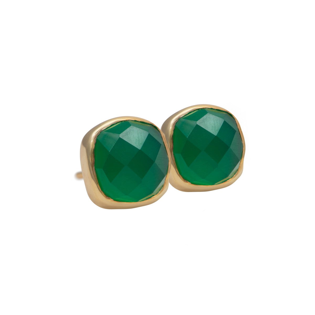 Faceted Square Green Onyx Gemstone Stud Earrings in Gold Plated Sterling Silver