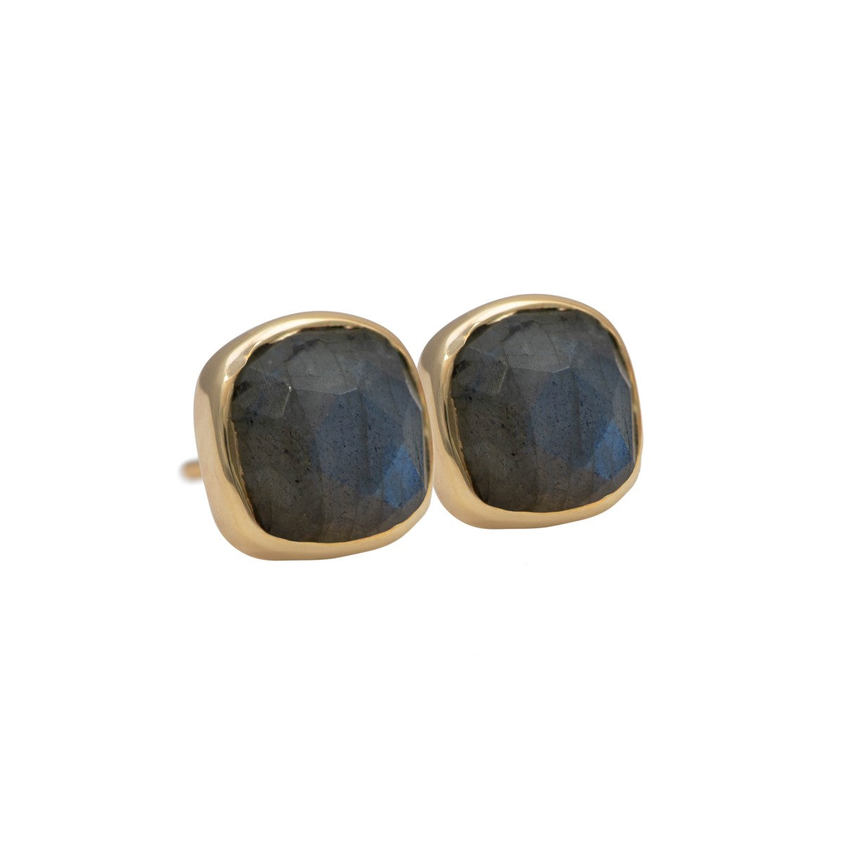 Faceted Square Labradorite Gemstone Stud Earrings in Gold Plated Sterling Silver
