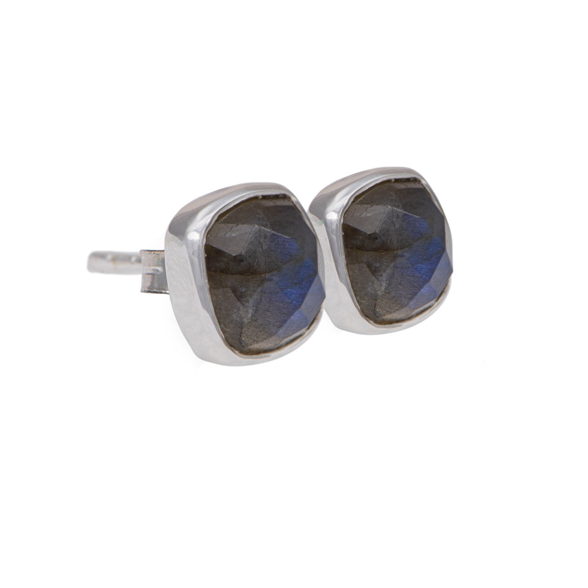 Faceted Square Labradorite Gemstone Stud Earrings in Sterling Silver