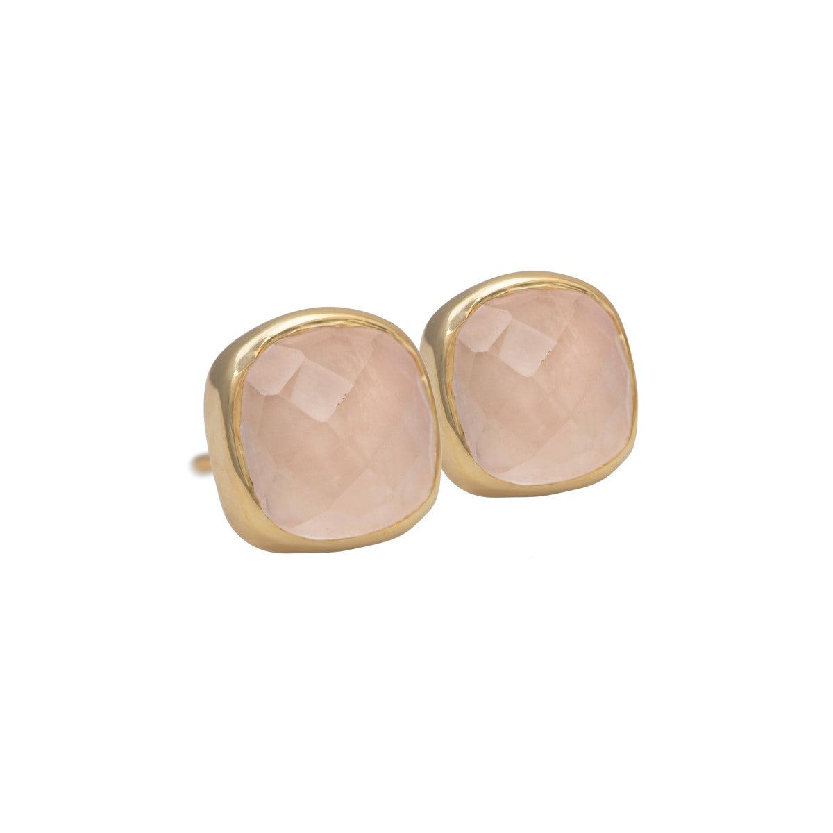 Faceted Square Rose Quartz Gemstone Stud Earrings in Gold Plated Sterling Silver