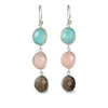 Long Hook Earrings with 3 Faceted Stones - Aqua Chalcedony, Rose Quartz and Smoky Quartz