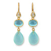 Long Hook Earrings 3 Stones - Faceted Rock Crystal, Cabochon Blue Topaz & Cabochon Aqua Chalcedony