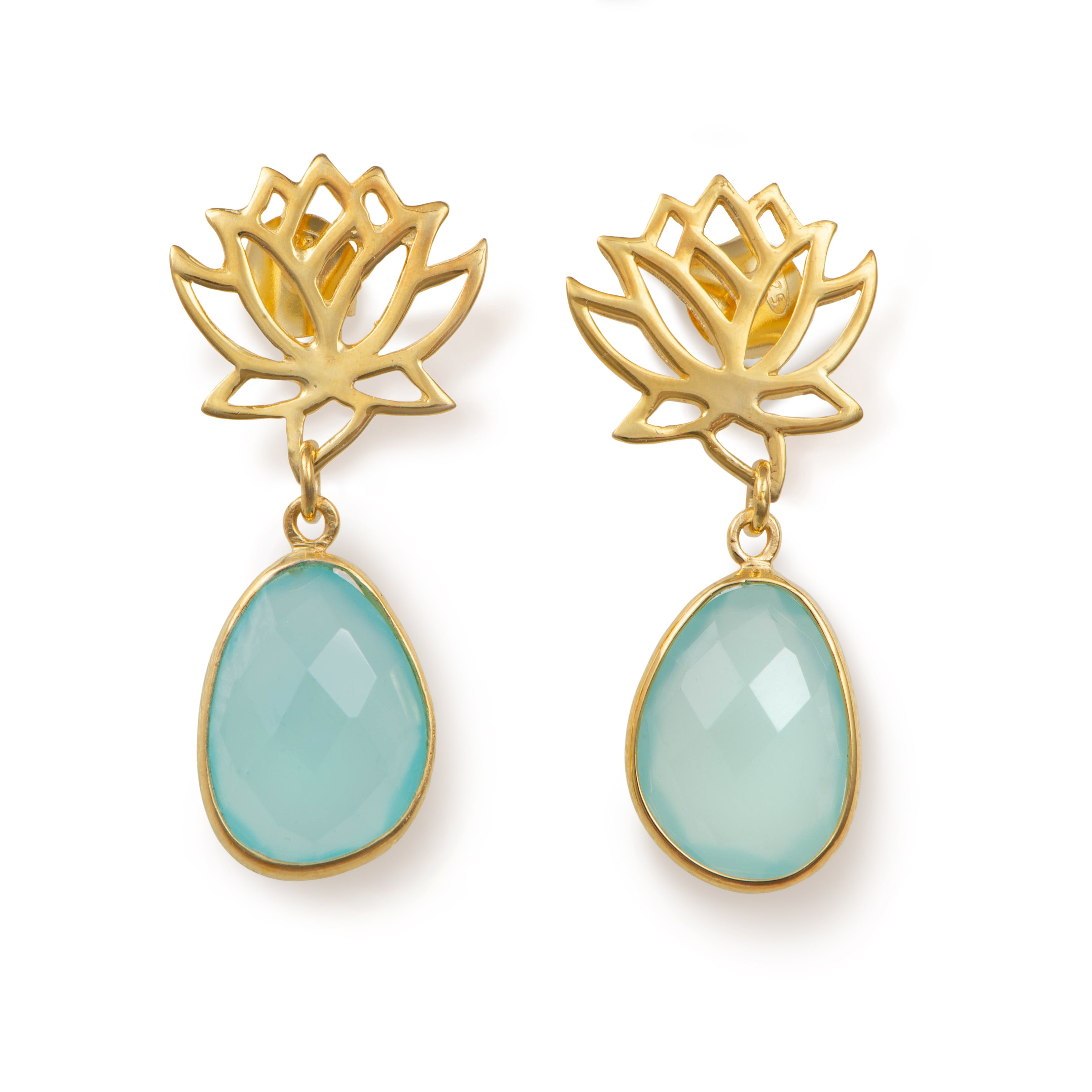 Lotus Earrings in Gold Plated Sterling Silver with an Aqua Chalcedony Gemstone Drop