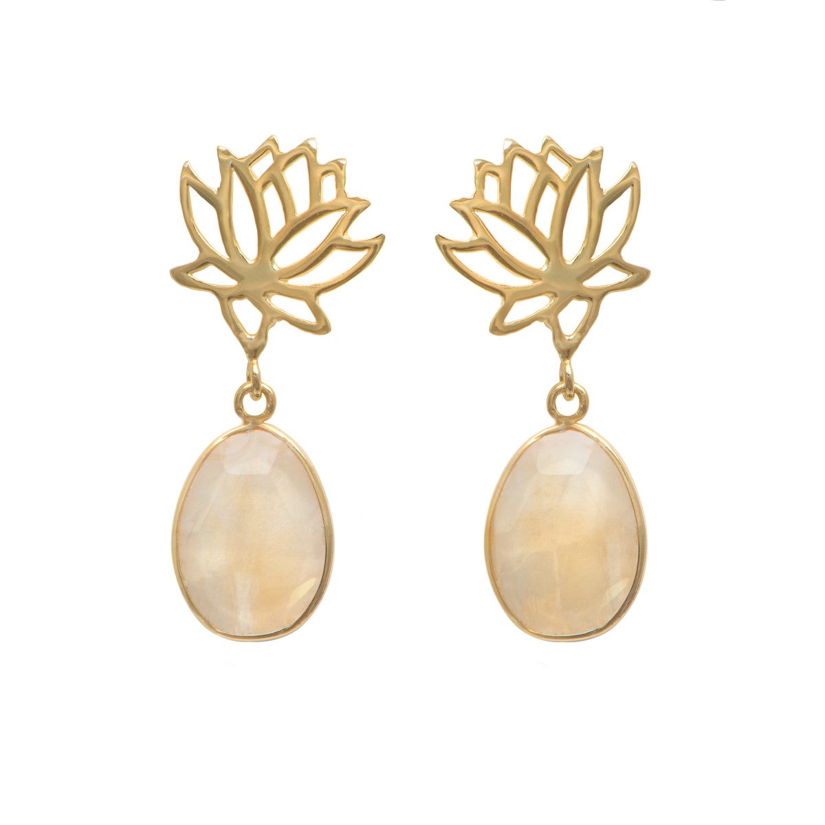 Lotus Earrings in Gold Plated Sterling Silver with a Citrine Gemstone Drop