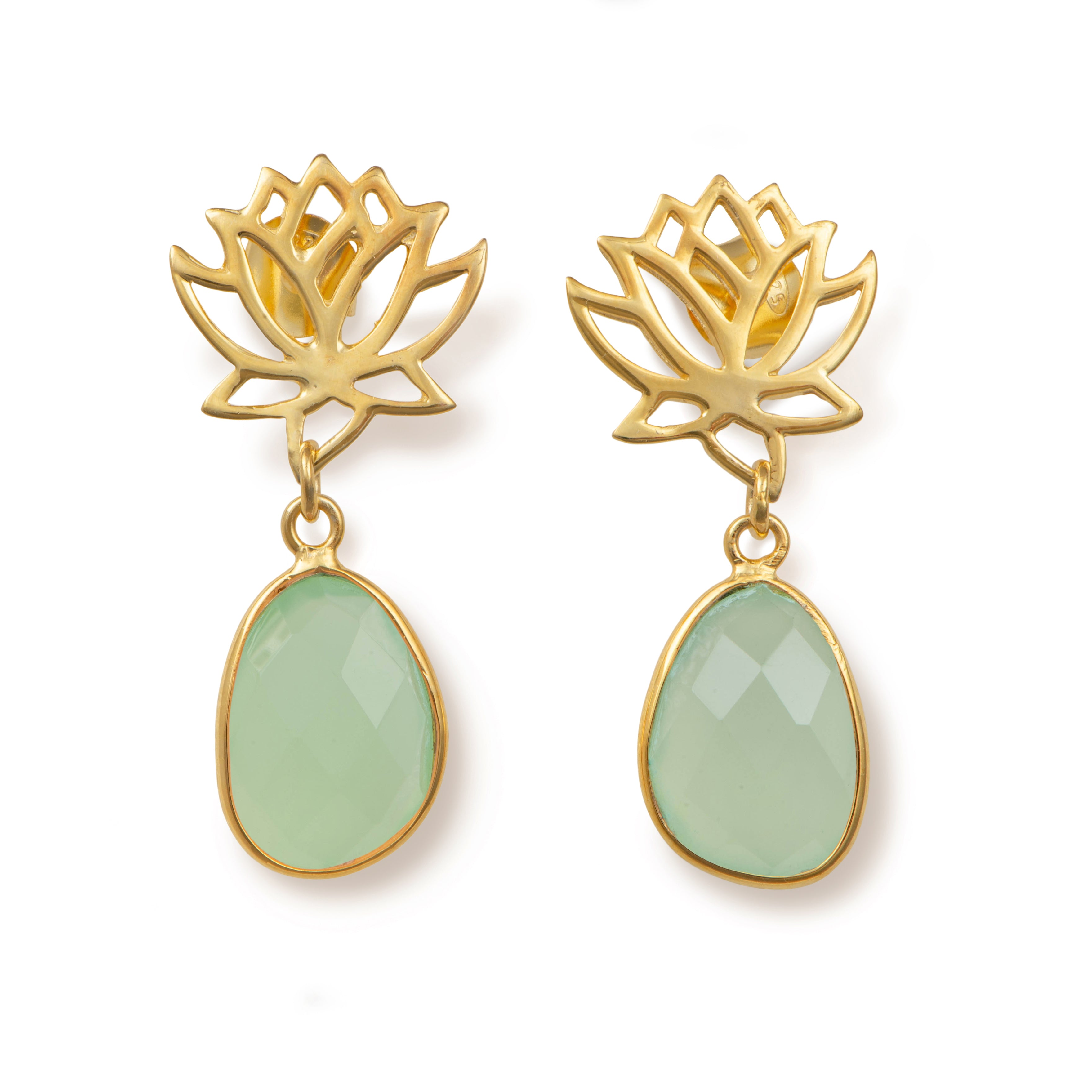 Lotus Earrings in Gold Plated Sterling Silver with a Green Chalcedony Gemstone Drop